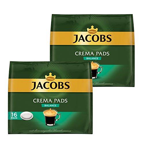 Jacobs Kaffeepads Crema Pads, Balance, Samtiger & Weicher Geschmack, Kaffee, 32 Pads