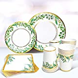 Sweet Baby Co. Greenery Plates for 24 Jungle Theme Boho Party Supplies Bridal Baby Shower Napkins Boy Girl with Paper Plate Napkin and Cups Safari Birthday Wedding Decorations Floral Gold Leaf Decor