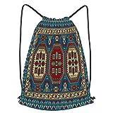 fudin Impermeable Bolsa de Cuerdas Saco de Gimnasio colorido mosaico oriental alfombra kazak tradicional Deporte Mochila para Playa Viaje Natación