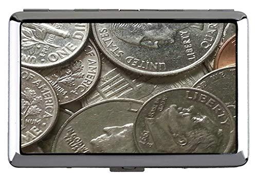 Silber Metall Zigarettenetui, Geldmünzen Hauptstadt Clip offene Tasche Inhaber für 14 Zigaretten