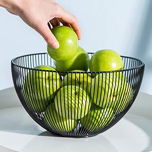 Cesta para frutas, verduras, huevos, pan, soporte para mesa de cocina, armario y despensa, diseño de alambre de acero inoxidable de estilo moderno, centro de mesa decorativo para encimera