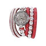 POLP Belleza Mujer Reloj de Pulsera de Cuarzo analógico con Esfera de Pulsera de Cristal Brillante Vintage Reloj Pulsera para Mujer Moda Mirar,Largo 40 cm (B)