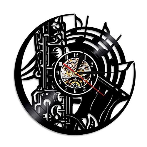 Saxofón Orquesta De Música De Sonido De La Sinfónica De Latón Disco De Vinilo Reloj Musical, Arte De La Pared Decoración del Hogar Reloj De Pared De La Música De Jazz De Regalo