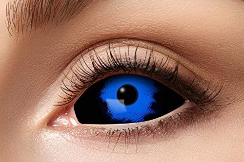 Eyecatcher 84091541.s08 - Farbige Sclera Kontaktlinsen, Blauer Dämon, Farblinsen, 6 Monate, weiche Linsen, ohne Sehstärke, 2 Stück, Motivlinsen, Halloween, Karneval, Fasching