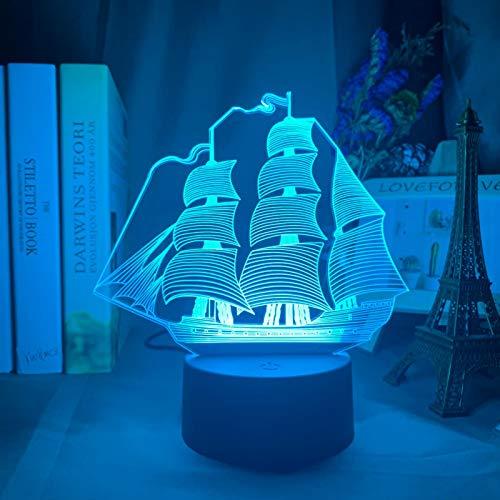 DGUOHAC Luz de la noche lámpara vela barco colorido decoración del hogar luces con pilas Nightlight para niños dormitorio
