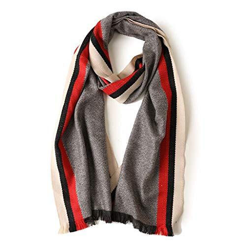 SUFLANG donkergroene verticale strepen warme sjaal meisje sjaals extra lang met kwast sjaal elegante dames sjaal,202x37cm Kleur: wit
