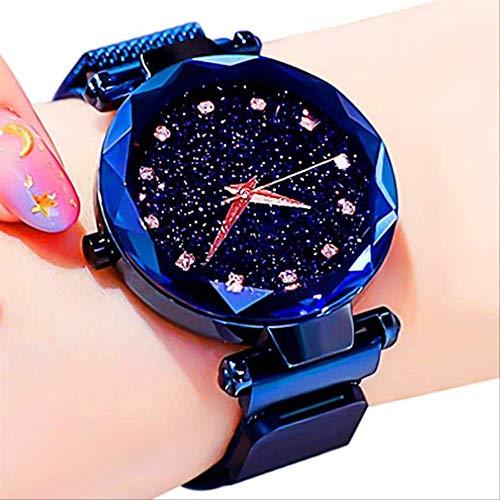 WFQ Uhr Sternenhimmel Damen Uhren Rose Gold Armband Magnet Mesh Band Strass Damen Quarz Armbanduhr A Blue Diamond Armbanduhr