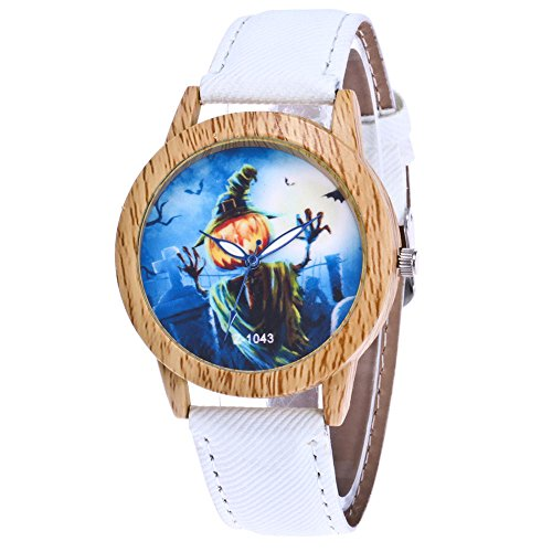 Souarts Damen Armbanduhr Halloween Stil Analoge Quary Uhr mit Batterie Holz Maserung Kürbis Gespenst Muster Weiß