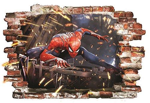 Spiderman Wandaufkleber für Schlafzimmer Wandbild Wandtattoo Spider Man Tapete Aufkleber 55cmx80cm
