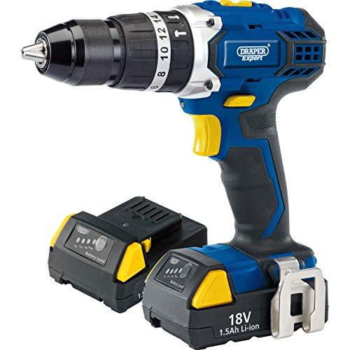 Draper 83685 Expert 18V Cordless Combi Hammer Drill with Two Li-Ion Batteries, 18 V, Multicoloured