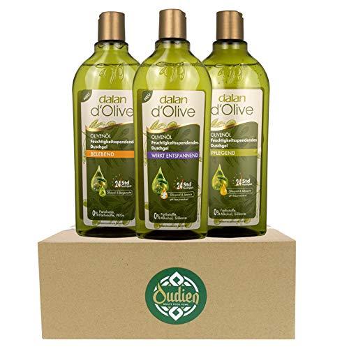 OUDIEN 3er Set dalan d\'Olive Duschgel je 400ml, Pflegedusche mit Olivenöl, feuchtigkeitsspendendes Naturduschgel