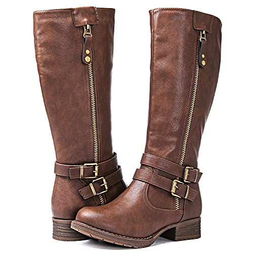 GLOBALWIN Women's Brown Knee High Riding Boots 8.5M
