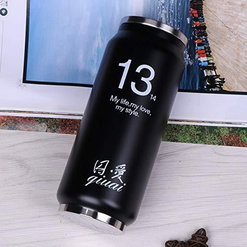 ALYHYB 500ML Acero Inoxidable Termo Botella con Las latas de Bebidas de café de Paja Termo Deportes Cola Copas de vacío Botellas con Aislamiento Agua, Blanco Dos, 500ML huangcui