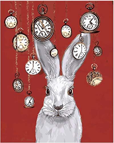 DJHFGH Pinceles Y Pinturas De Pintura Digital para Adultos Y Niños DIY Pintura Digital De Bricolaje 16 * 20 Pulgadas (Sin Marco) Conejo Reloj De Bolsillo