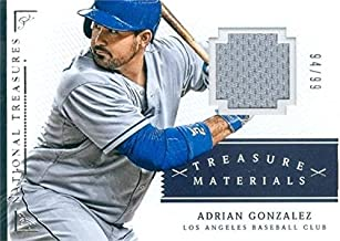 Adrian Gonzalez player worn jersey patch baseball card (Los Angeles Dodgers) 2014 Panini National Treasures #3 LE 94/99