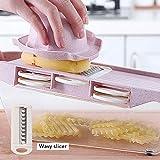 LENASH Cortador Vegetal multifunción con Cuchilla de Acero Mandoline Slicer Fruit Raller para Herramienta de Corte de Cocina Herramientas de Cocina (Color : Pink)