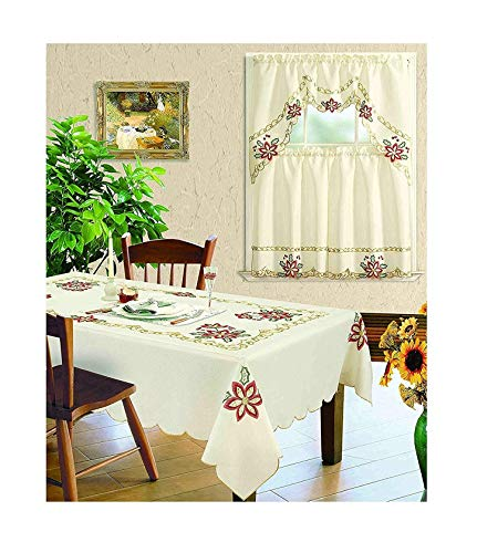 All American Collection New 3pc Christmas Holiday Design Embroidered Kitchen Curtain Set