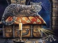 番号キットによるDiy油絵絵画黒猫は大人のための秘密を守る子供たちは番号キットによる塗装40X50cm(フレームレス)