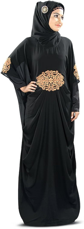 MyBatua Amara Copper Embroidered Black Kaftan Dress KF008C