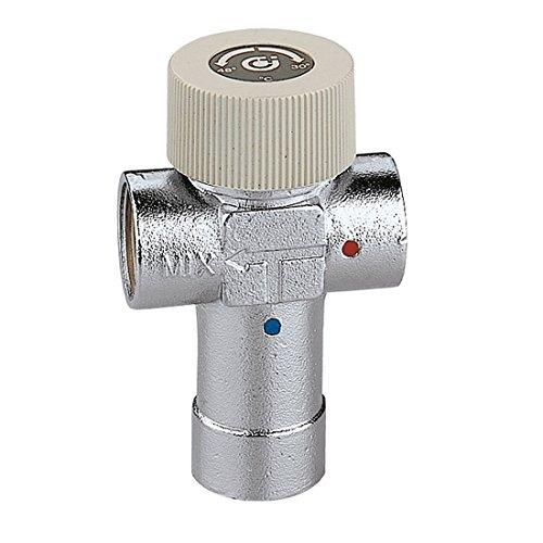 Caleffi 520430 Thermomischer Einstellbar 1/2 Zoll 30 - 48 °C Messing-Gehäuse, Verchromt