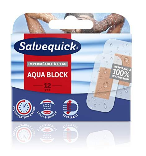 Salvequick ® | Aqua Block 12 | 100% wasserdichtes Pflaster, das die Haut atmen lässt, die Heilung beschleunigt und das Risiko von Narbenbildung verringert | 12 Einheiten