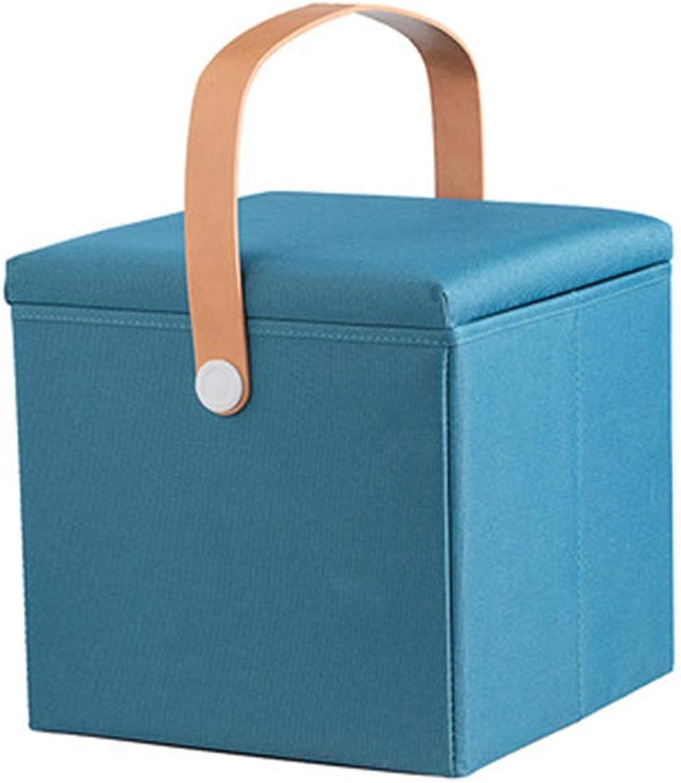 Stools Stool Storage Stool Sofa Stool Creative Compartment Finishing Box Door to Change shoes Stool Folding Footstool (color   bluee, Size   30  30  30cm)