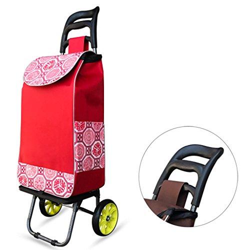 Yxsd Chariot léger de capacité de Chariot à Bagages de Shopper de capacité de 2 Roues Chariot Pliable de Traction/Traction de Grande capacité (Color : Red)