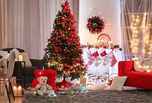 Cassisy 3x2m Vinyl Weihnachten Fotohintergrund Weiße Kamine Rahmen Silvester Hintergrund Weihnachtsszene Fotoleinwand Hintergrund für Fotoshoot Fotostudio Requisiten Photo Booth