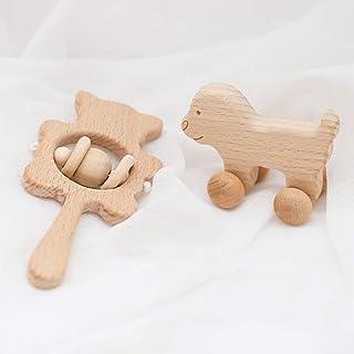 Baby Firstlook 赤ちゃんカスタネット おしゃぶり歯がためにも使える可愛い音がする木のおもちゃ2個 新生児贈り物 「FDA認可済」