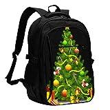 XCNGG Lindo árbol de Navidad Mochila para computadora portátil de Viaje Mochila Escolar universitaria Mochila Informal con Puerto de Carga USB