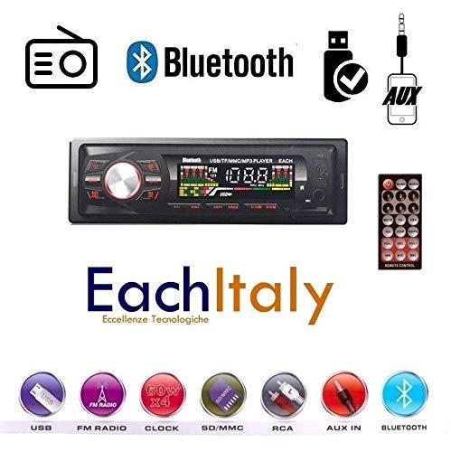 EACH ITALY Stereo Auto Bluetooth AUTORADIO Vivavoce Radio FM MP3 USB AUX SD Card 250w 1din