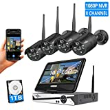 [8CH Expandable] Hiseeu All in one with 10.1' LCD Monitor Wireless Security Camera System with...