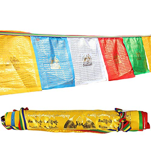 Gandhanra 12 Kinds Golden Typeface Prayer Flags Bunting of Tibetan Buddhist Sutra,Handmade 10Ft10 Flags, Promote Love,Compassion,Peace,Strength and Wisdom (Buddha of Medicine)