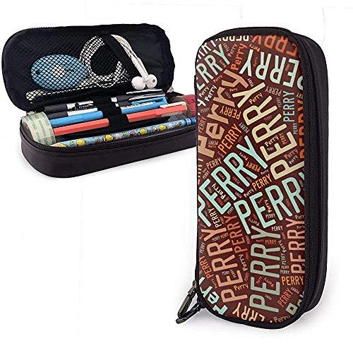 Perry - Amerikanischer Familienname Hohe Kapazität Leder Federmäppchen Bleistift Stift Schreibwaren Halter Veranstalter Büro Make-up Stift Tragbare Kosmetiktasche