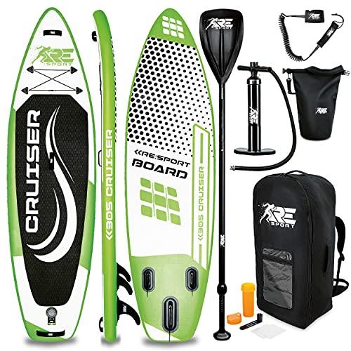 RE:SPORT SUP Board Set aufblasbar 305/320/366/380cm   Stand Up Paddle Board mit Zubehör   Paddling Surfbrett   Surfboard für Einsteiger & Fortgeschrittene (Grün, 305cm)