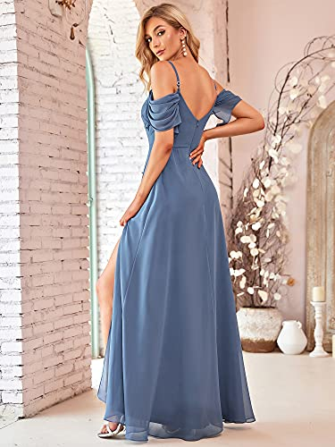 Ever-Pretty Vestido de Fiesta Abertura Largo para Mujer Fuera del Hombro A-línea Hoja de Loto Gasa Elegantes Armada Polvorienta 48