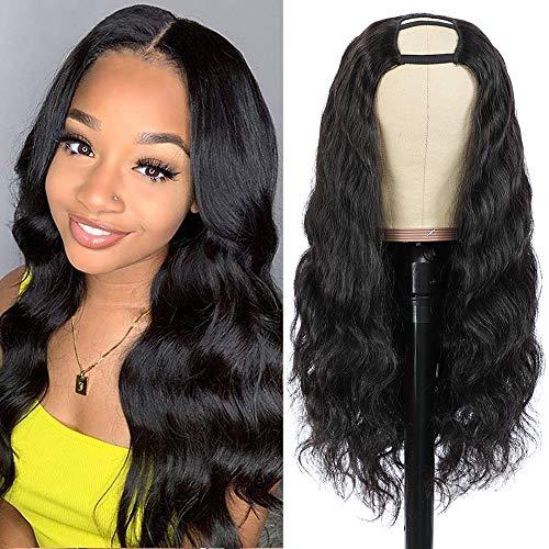 Pelo natural pelucas mujer pelo natural rizado U Part Half human Hair wigs for black woman humano peluca negra larga virgin hair Extensiones body wave curly