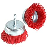 2Pcs 3 Inch Abrasive Wire Nylon Cup Brush for Drill,Grit 80 with 1/4' Shank (Red)