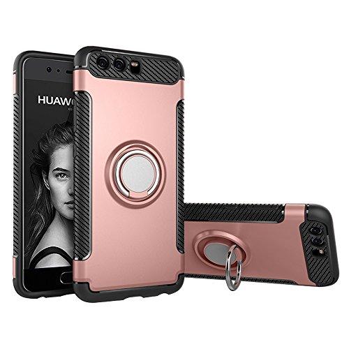 BLUGUL Huawei P10 Hülle, 360 Grad Drehender Ring-Handgriff, Kompatibel mit Magnet Auto Halterung, Schutzhülle Handyhülle Hülle Cover für Huawei P10 Rose Gold