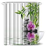 LoveHouse Spa Duschvorhang Zen Orchidee Blumen Felsen Bambus Stil Stoff Badvorhang-Set mit Haken 182,9 cm B x 182,9 cm L Modern Aquarell Deko Badezimmer Zubehör