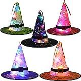Oyria 5 Piezas de Halloween LED Luminoso Sombrero de Bruja Brillante árbol Colgante decoración Suministros Traje de Fiesta...