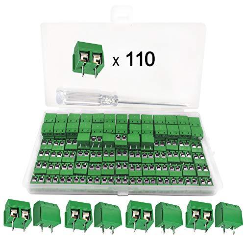 YIXISI 110 Pcs 5mm 2 Pin PCB Mount Screw Terminal Block, Schraubklemme Steckverbinder, für Arduino (2 Pin-110pcs)