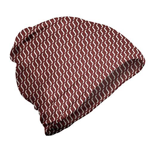 ABAKUHAUS rot Unisex Beanie, Cutrvy gewellte Linien Dunkle Fliesen, Wandern im Freien, Burgunder-Weiß