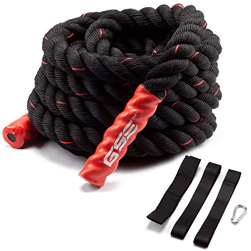 GSE Games & Sports Expert 30ft/40ft/50ft Exercise Training Battle Ropes with Anchor Kit (1.5'/2'...