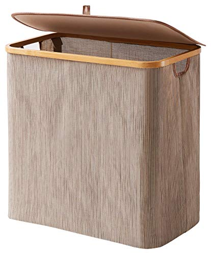 YOUDENOVA Waterproof Bamboo Laundry Hamper Basket with Lid for Bathroom and Bedroom Waterproof Storage Basket for Moist Towels and Clothes Brown
