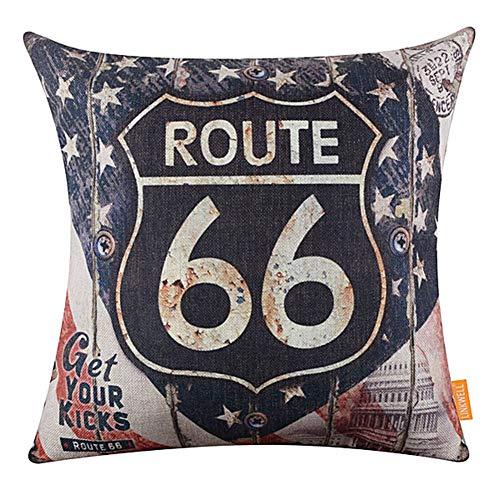 display08 17.7'x 17.7' Vintage American Map Route 66 Funda De Almohada De Lino Funda De Cojín Sofá Cama Car Cafe Pub Decoración para El Hogar 3