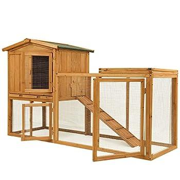 Ogrmar Chicken Coop Large Wooden Outdoor Bunny Rabbit Hutch Hen Cage with Ventilation Door Removable Tray & Ramp Garden Backyard Pet House Chicken Nesting Box