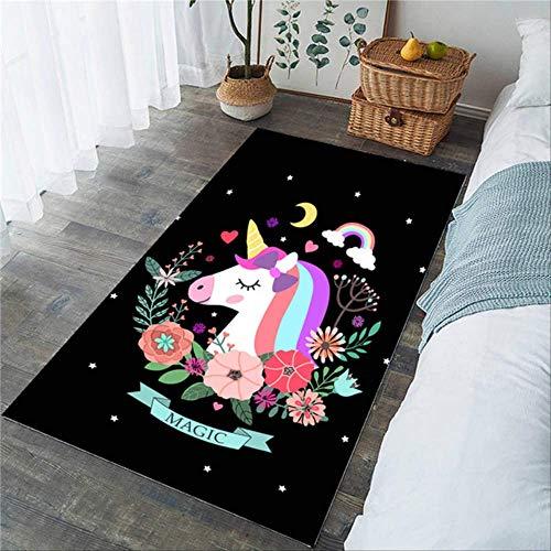hhjxptst Teppich, Bettwäsche Outlet Einhorn Große Rose Cartoon Kinder Spielen Fußmatten Pink Floral Area Rug 122x183cm 8