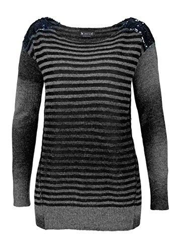 Damen-Pullover Marken-Pullover mit Wolle und Pailletten grau-schwarz, Grau, 44/46