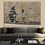 KWzEQ No se Puede Mantener la Paz del Pintor dibujando con Fuerza en el Lienzo,Pintura sin Marco,50x75cm